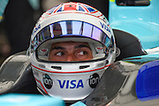 Oliver Turvey of Great Britain and Nextev TCR in the garage looks at the monitor during Round 9 of Formula E, Battersea Park, London, United Kingdom on 2 July 2016. Photo by Martin Cole.