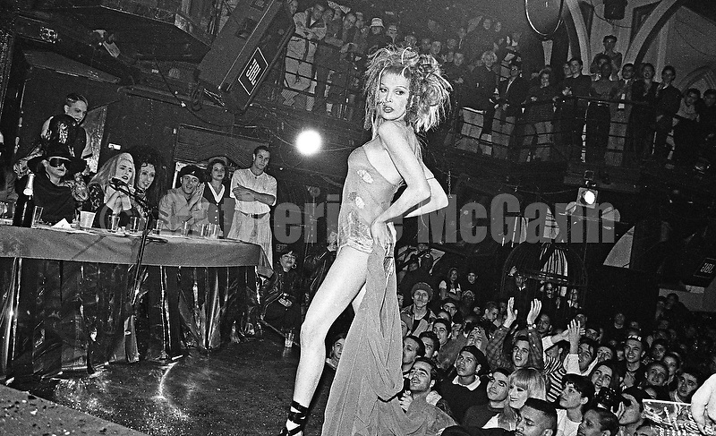 Winter 1994: A contestant on the stage at the  Club Kid King and Queen of Manhattan contest at Limelight nightclub in New York City, WInter, 1994