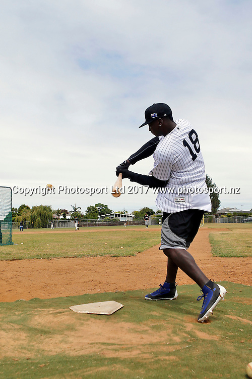 New York Yankees Shortstop Didi Gregorius assisting with the New Zealand Under 18 baseball team training at Lloyd Elsmore Park, Auckland, New Zealand. 13 January 2017. Copyright Image: William Booth / www.photosport.co.nz