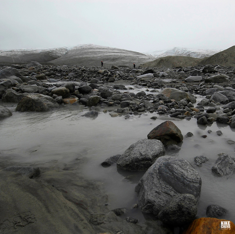 Sermilik Glacier. Sirmilik National Park. Bylot Island. Pond Inlet, Baffin Island. High Arctic. Canada.( isolated, remote, tourist, hike, hiking, foggy, weather, rock, rockly. tongue,