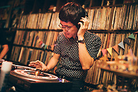 Seiji Iwabuchi--one of the founding members of Nude Restaurant--spins old soul 45s for the anniversary party.