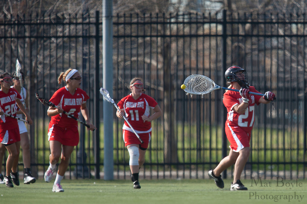 Montclair State University Lacrosse Junior Tiffani Henderson (27); Rutgers-Camden Lacrosse against Montclair State University  on Wednesday March 21, 2012. (photo / Mat Boyle)