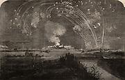 Crimean (Russo-Turkish) War 1853-1856. Bonfire and fireworks on Woolwich Marshes, England, celebrating the fall of Sebastopol (Sevastopol), 11 September 1855.  From 'The Illustrated London News (London, 22 September 1855). Engraving.