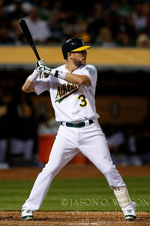OAKLAND, CA - APRIL 04:  Trevor Plouffe #3 of the Oakland Athletics at bat against the Los Angeles Angels of Anaheim during the fourth inning at the Oakland Coliseum on April 4, 2017 in Oakland, California. The Los Angeles Angels of Anaheim defeated the Oakland Athletics 7-6. (Photo by Jason O. Watson/Getty Images) *** Local Caption *** Trevor Plouffe
