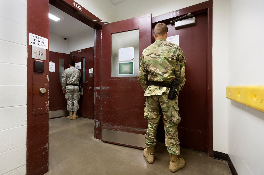 Guantanamo Bay, Cuba, Jan 2017.<br /> This is a picture of a guard at the prison. At Guantanamo you are under military censorship and you are not allowed to use a picture clearly identifying prisoners and guards so pictures of the prisoners or guards are backs or silhouettes. Every day the military go through your pictures and delete the once that are not approved.<br /> Photo by Ola Torkelsson / Kontinent<br /> Copyright Ola Torkelsson &copy;<br /> ** NORDIC COUNTRIES OUT **