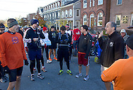 Goshen, New York - Runners gather before the start of the Hambletonian Marathon fun run on Nov. 4, 2012. The run was put together for runners who had trained for the New York City Marathon, which was cancelled because of Hurricane Sandy.