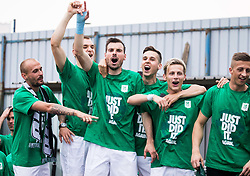 Players of Olimpija celebrate after they became Slovenian National Champion 2018 after the football match between NK Domzale and NK Olimpija Ljubljana in 36th Round of Prva liga Telekom Slovenije 2017/18, on May 27, 2018 in Sports park Domzale, Domzale, Slovenia. Photo by Vid Ponikvar / Sportida