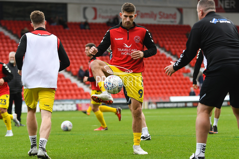 Ched Evans of Fleetwood Town warming up during the EFL Sky Bet League 1 match between Doncaster Rovers and Fleetwood Town at the Keepmoat Stadium, Doncaster, England on 6 October 2018.