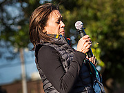 12 OCTOBER 2019 - DES MOINES, IOWA: Senator KAMALA HARRIS (D-CA) reacts to a bee flying near her (right of her hand holding the microphone) while she was speaking at a Des Moines block party Saturday. Sen. Harris attended a neighborhood block party in Des Moines as a part of her campaign to be the Democratic nominee for the US presidency in 2020. Iowa traditionally holds the first selection of the presidential election cycle. The Iowa caucuses are Feb. 3, 2020.       PHOTO BY JACK KURTZ