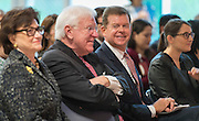 Houston ISD Trustee Harvin Moore and former governor Mark White enjoy the program during a dedication ceremony at Mark White Elementary School, December 13, 2016.