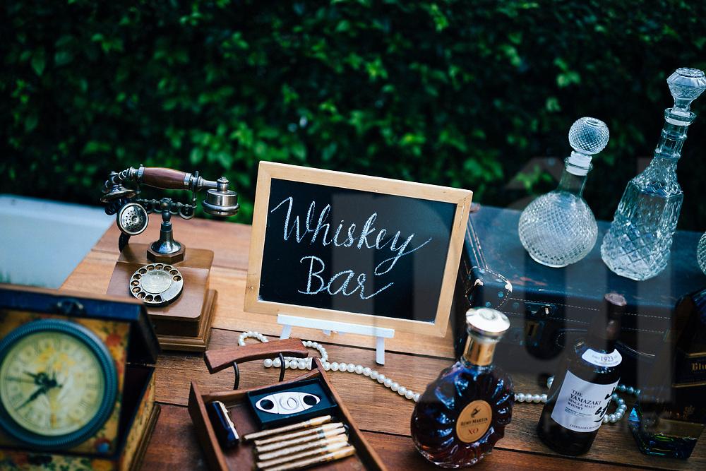 A whiskey bar settup at a beach wedding in Ko Samui, Thailand, Southeast Asia