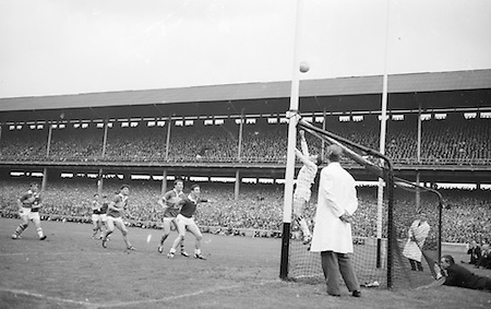 Galway goalie tips ball over his own goal during the All Ireland Senior Gaelic Football Final Kerry v. Galway in Croke Park on the 26th September 1965. Galway 0-12 Kerry 0-09.