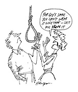 """(Man contemplating noose and woman commenting: """"For God's sake. You can't wear it like that - let me iron it!)"""