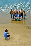 Santa Monica, CA,  Beach, Ocean, Looking Down on Children Posing for Portrait