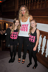 Left to right, ISLA ?, DAVINA POWNELL and LADY LOLA CRICHTON-STUART at fundraising dinner and auction in aid of Liver Good Life a charity for people with Hepatitis held at Christies, King Street, London on 16th September 2009.