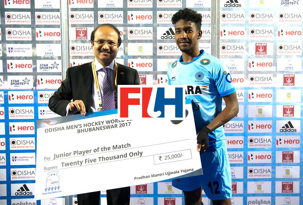 Odisha Men's Hockey World League Final Bhubaneswar 2017<br /> Match id:02<br /> Australia v India<br /> Foto: Youth playwer off the match Dipsan TIRKEY.<br /> WORLDSPORTPICS COPYRIGHT FRANK UIJLENBROEK