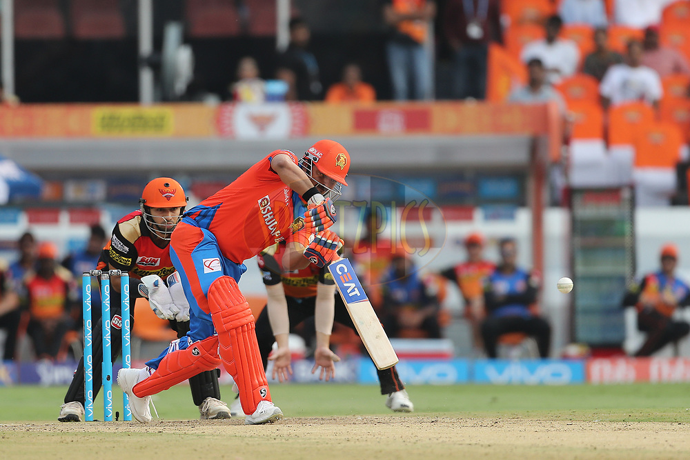 Gujarat Lions captain Suresh Raina during match 6 of the Vivo 2017 Indian Premier League between the Sunrisers Hyderabad and the Gujarat Lions held at the Rajiv Gandhi International Cricket Stadium in Hyderabad, India on the 9th April 2017<br /> <br /> Photo by Ron Gaunt - IPL - Sportzpics