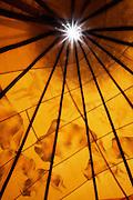 Interior of a teepee (tipi). Taos, New Mexico.