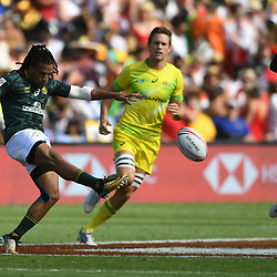Action from the cup semifinal match between South Africa and Australia on day two of the 2018 HSBC World Sevens Series Hamilton  at FMG Stadium in Hamilton, New Zealand on Sunday, 4 February 2018. Photo: Kerry Marshall / lintottphoto.co.nz