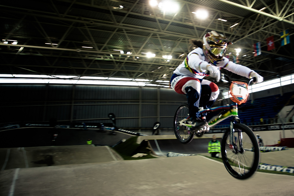 #1 (POTTIER Magalie) FRA at the UCI BMX Supercross World Cup in Manchester, UK