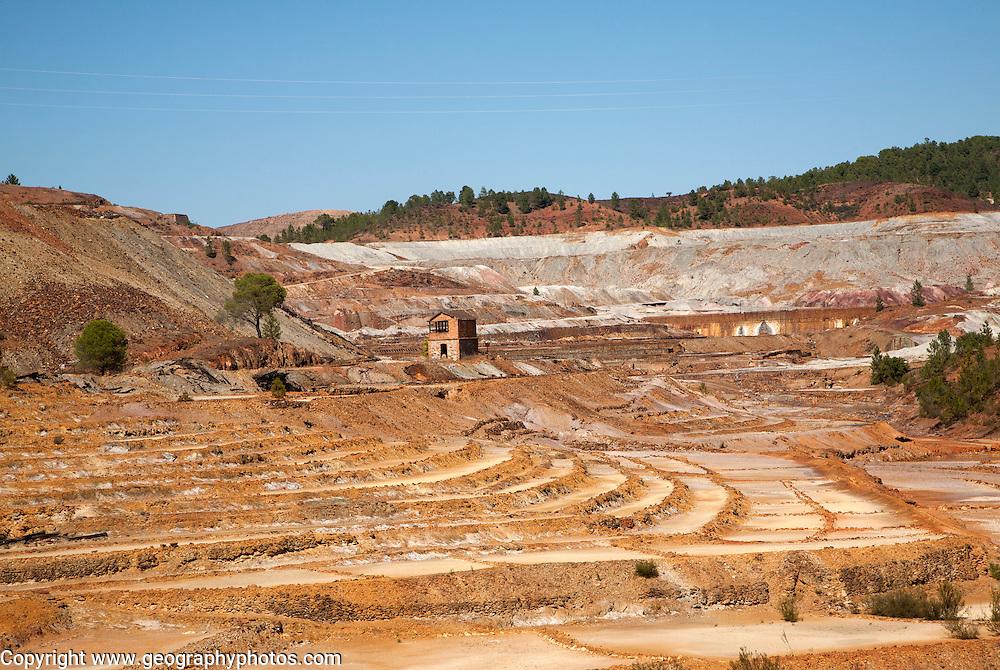 Lunar like despoiled landscape opencast mineral extraction, Minas de Riotinto mining area, Huelva province, Spain