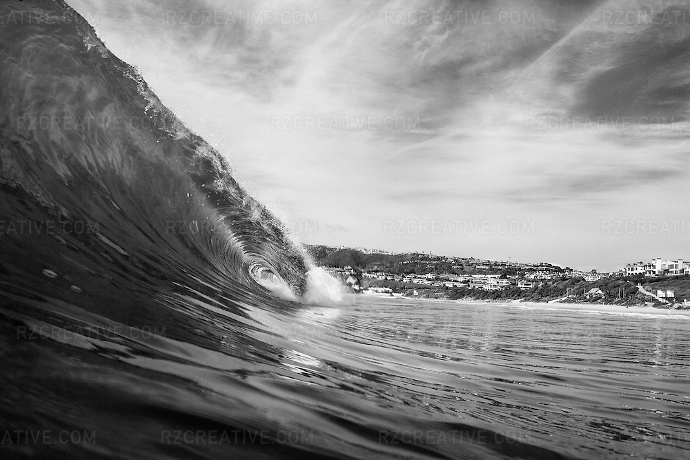 B&W fine art print of a breaking wave.