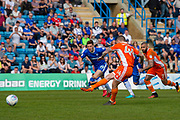 Blackpool midfielder Jim McAlister (4) takes a penalty  during the EFL Sky Bet League 1 match between Gillingham and Blackpool at the MEMS Priestfield Stadium, Gillingham, England on 21 April 2018. Picture by Martin Cole.