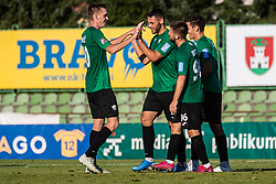 Players of NK Rudar celebrating after goal during football match between NK Bravo and NK Rudar Velenje in 1sth Round of Slovenian Cup 2019/20, on August 15, 2019 in Sports park ZAK, Ljubljana, Slovenia. Photo by Grega Valancic / Sportida