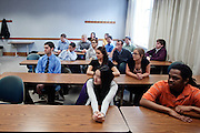 Students listen to Dr. Gary Coombs on Tuesday, March 15, 2011 in Ohio University's Copeland Hall in Athens, Ohio.