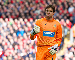 LIVERPOOL, ENGLAND - Sunday, May 11, 2014: Newcastle United's goalkeeper Tim Krul in action against Liverpool during the Premiership match at Anfield. (Pic by David Rawcliffe/Propaganda)