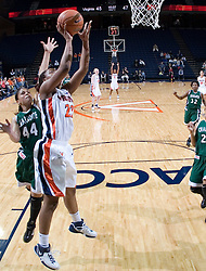 Virginia Cavaliers Guard Monica Wright (22) shoots against Charlotte.  The Virginia Cavaliers women's basketball team defeated The University of North Carolina - Charlotte 49ers 74-72 in the 2nd round of the Women's NIT at John Paul Jones Arena in Charlottesville, VA on March 19, 2007.