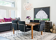 Eclectic Interior Design photography, for designer, of a dining room with a mix of traditional, modern, and off beat design details, furniture and accessories.
