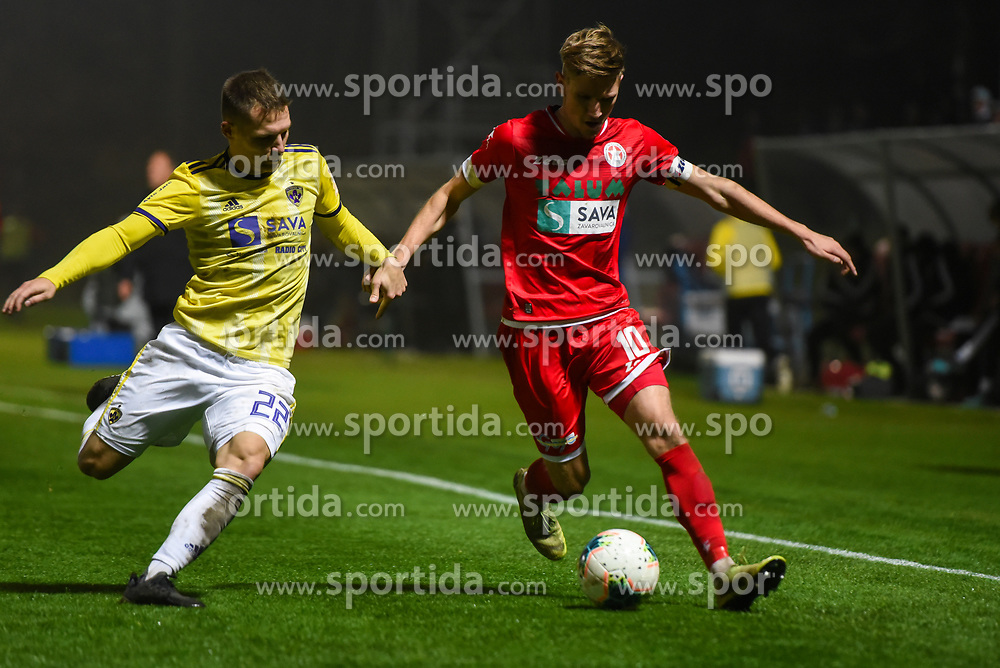 Martin Milec of Maribor and Matic Vrbanec of Aluminij during football match between NK Aluminij and NK Maribor in 18th Round of Prva liga Telekom Slovenije 2019/20, on November 24, 2019 in Sportni park Aluminij, Kidricevo Slovenia. Photo by Milos Vujinovic / Sportida