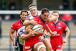 Bristol Flanker Jack Lam is tackled by Yorkshire Carnegie Winger Lewis Jones and Prop Ben Harris - Photo mandatory by-line: Rogan Thomson/JMP - 07966 386802 - 14/09/2014 - SPORT - RUGBY UNION - Leeds, England - Headingley Carnegie Stadium - Yorkshire Carnegie v Bristol Rugby - Greene King IPA Championship.