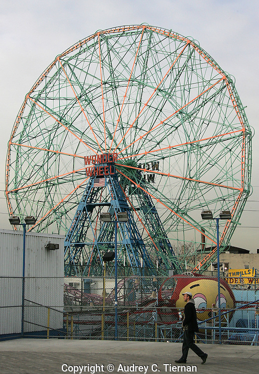 Brooklyn, NY: Saturday, January 26, 2008--  The world famous Wonder Wheel at Coney Island.  © Audrey C. Tiernan
