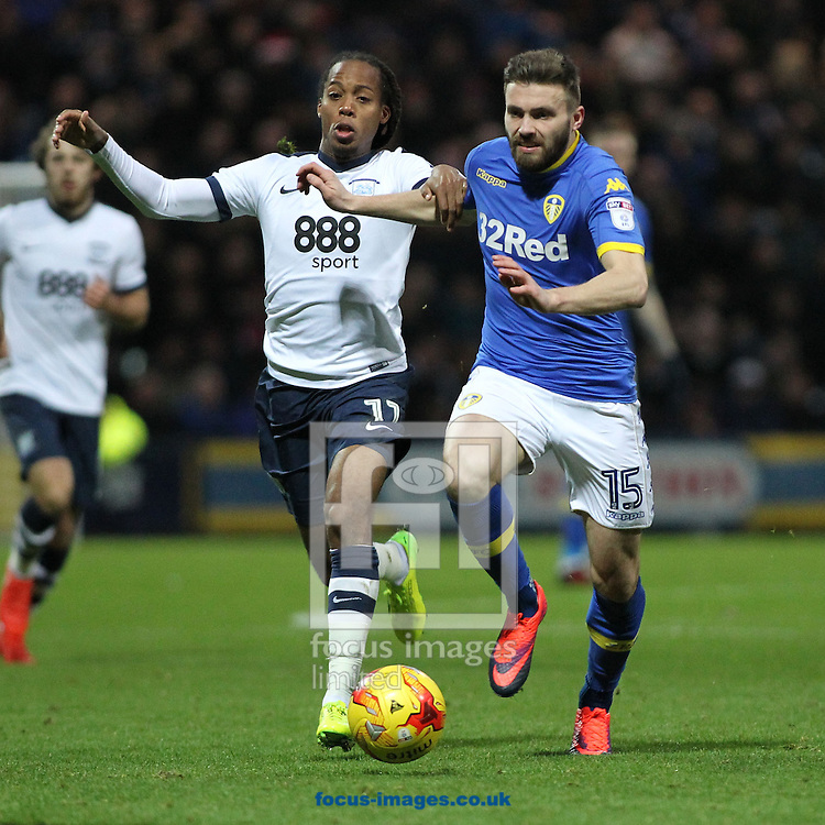 Daniel Johnson of Preston North End and Stuart Dallas of Leeds United during the Sky Bet Championship match at Deepdale, Preston.<br /> Picture by Michael Sedgwick/Focus Images Ltd +44 7900 363072<br /> 26/12/2016