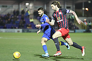 AFC Wimbledon defender George Francomb (7) battles for possession with Blackburn Rovers defender Charlie Mulgrew (14) during the EFL Sky Bet League 1 match between AFC Wimbledon and Blackburn Rovers at the Cherry Red Records Stadium, Kingston, England on 27 February 2018. Picture by Matthew Redman.