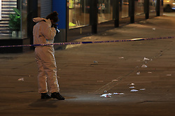 © Licensed to London News Pictures. 12/01/2020. Manchester, UK. Police respond to multiple stabbings in Piccadilly Gardens in Central Manchester. Photo credit: Joel Goodman/LNP