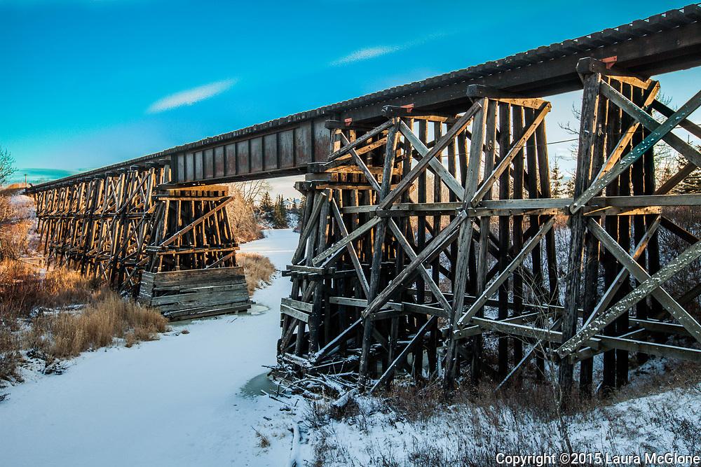 Villeneuve Wooden Train Tressle, St. Albert, Alberta, Canada