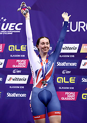 Great Britain's Katie Archibald celebrates winning Silver in the Omnium IV Women 20KM Points Race during day five of the 2018 European Championships at the Sir Chris Hoy Velodrome, Glasgow.