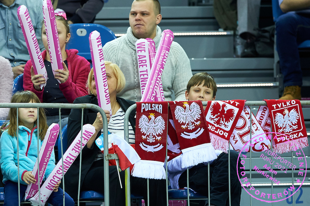 Supporters from Poland during Second Day of the Fed Cup / World Group 1st round tennis match between Poland and Russia at Tauron Krakow Arena on February 8, 2015 in Cracow, Poland.<br /> <br /> Poland, Cracow, February 8, 2015<br /> <br /> Picture also available in RAW (NEF) or TIFF format on special request.<br /> <br /> For editorial use only. Any commercial or promotional use requires permission.<br /> <br /> Adam Nurkiewicz declares that he has no rights to the image of people at the photographs of his authorship.<br /> <br /> Mandatory credit:<br /> Photo by &copy; Adam Nurkiewicz / Mediasport