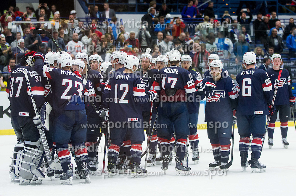 Players of USA after winning during Ice Hockey match between USA and Finland at Day 1 in Group B of 2015 IIHF World Championship, on May 1, 2015 in CEZ Arena, Ostrava, Czech Republic. Photo by Vid Ponikvar / Sportida