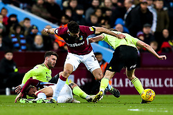 Mile Jedinak and Conor Hourihane of Aston Villa challenge Gary Madine and Kieran Dowell of Sheffield United - Mandatory by-line: Robbie Stephenson/JMP - 08/02/2019 - FOOTBALL - Villa Park - Birmingham, England - Aston Villa v Sheffield United - Sky Bet Championship
