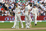 James Pattinson of Australia walks past Ben Stokes of England after an unsuccessful appeal for a wicket during the International Test Match 2019 match between England and Australia at Edgbaston, Birmingham, United Kingdom on 3 August 2019.