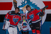 KELOWNA, CANADA - NOVEMBER 14:  Pepsi Player of the game with James Porter #1 of the Kelowna Rockets and Jack Cowell #8 of the Kelowna Rockets at the Kelowna Rockets game on November 14, 2017 at Prospera Place in Kelowna, British Columbia, Canada.  (Photo By Cindy Rogers/Nyasa Photography,  *** Local Caption ***