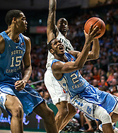 North Carolina Tar Heels guard Kenny Williams drives the ball toward the basket during the second half of an ACC basketball game against the University of Miami at Watsco Center in Coral Gables, Wednesday, January 19, 2019.
