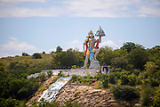 PUTTARPATHI, INDIA - 01st November 2019 - Landscape of Hanuman Statue, Puttarpathi, Andhra Pradesh, South India.