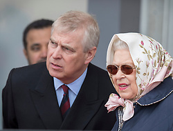 © Licensed to London News Pictures. 11/05/2018. Windsor, UK. Prince Andrew stands with Queen Elizabeth II during the 75th Royal Windsor Horse Show. The five day event takes place in the grounds of Windsor Castle. Photo credit: Peter Macdiarmid/LNP