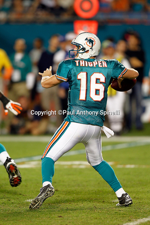 Miami Dolphins quarterback Tyler Thigpen (16) throws a pass during the NFL week 11 football game against the Chicago Bears on Thursday, November 18, 2010 in Miami Gardens, Florida. The Bears won the game 16-0. (©Paul Anthony Spinelli)