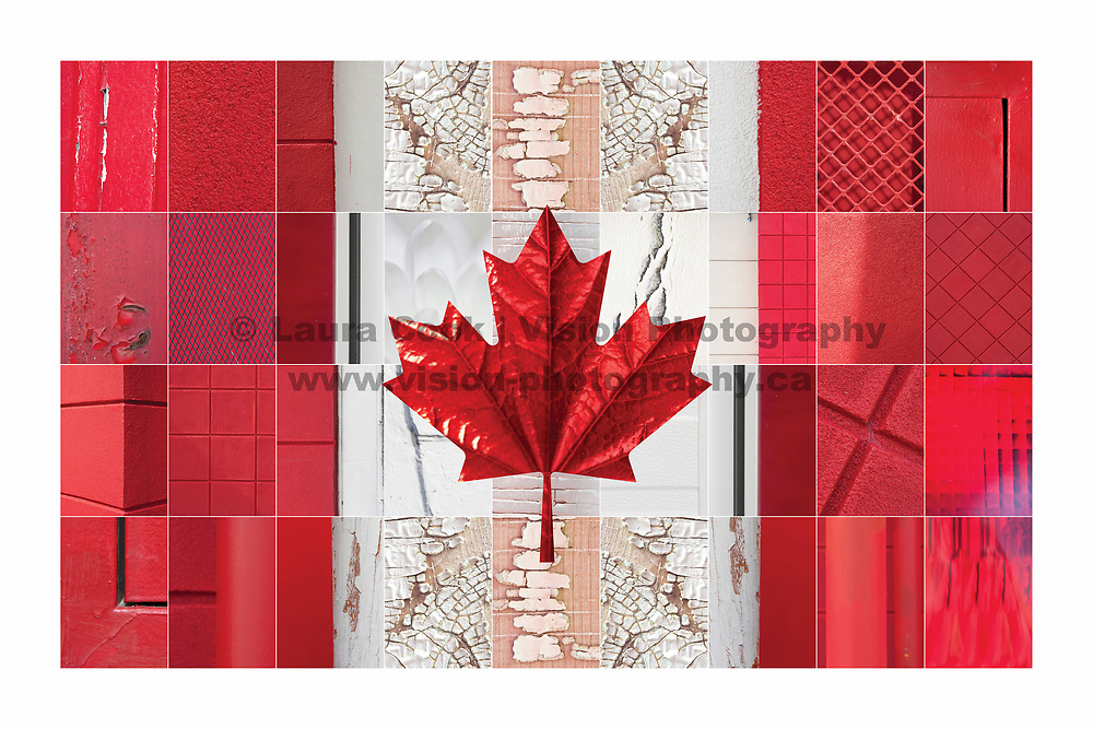 In honour of Canada's 150th Birthday (Canada's Sesquicentennial) I created these special abstract Canadian Flag pieces that are comprised of individual abstract pictures of red and white objects found in the every day (not far past my door step) I carefully selected each photo's placement, to create this unique piece celebrating my country and heritage - Canada on this very special day.  <br />